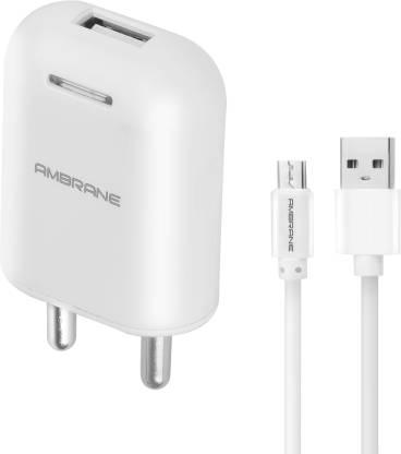 Ambrane AWC-38 With 1 m Sync & Charge USB Cable 2.1A Fast 10.5 W 2.1 A Mobile Charger with Detachable Cable(User Manual, Cable Included)