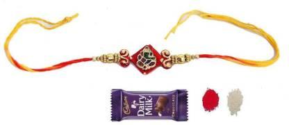 Indigo Creatives Shub Ganesh Rakhi With Chocolate, Pooja Tika Rakshabandhan for Brother Silk Gift Box