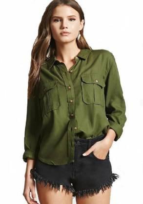 ItkiUtki Women Solid Casual Green Shirt