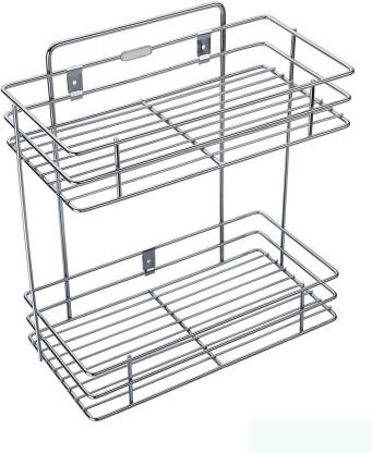Bluwings Double Layer Wall Mounted Kitchen Rack Kitchen Accessories Organizer Stainless Steel Wall Shelf Price In India Buy Bluwings Double Layer Wall Mounted Kitchen Rack Kitchen Accessories Organizer Stainless Steel Wall