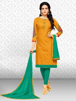 Divastri Cotton Self Design, Embroidered, Embellished Salwar Suit Material