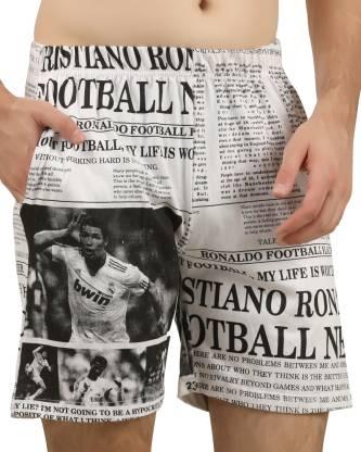 Hotfits Printed, Graphic Print Men White Basic Shorts