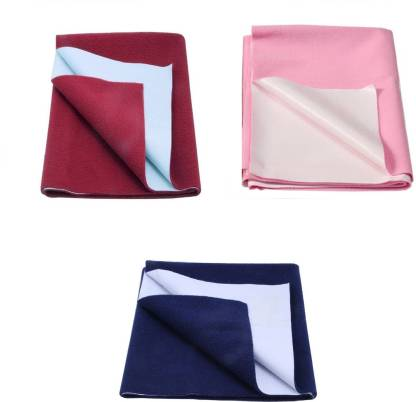 BeyBee Just Dry Bed Protector Baby Mats Waterproof Sheet for Born Babies Gifts Pack Diaper Changing Pads (Small, Dark Sea Blue/Red)