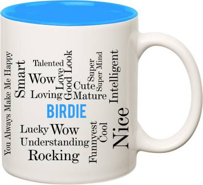 IBGift Birdie Good Personality Inner Blue Ceramic coffee Name Ceramic Coffee Mug