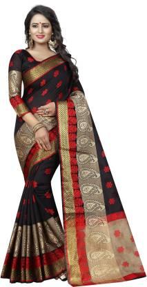 SATYAM WEAVES Paisley Banarasi Cotton Silk Saree