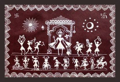 Mad Masters WARLI PAINTING OF LORD VISHNU AND HIS DUS AVATARS 1 Piece  wooden framed painting
