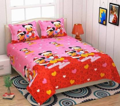 royal aditya 188 TC Polycotton, Satin, Cotton Double Cartoon Bedsheet