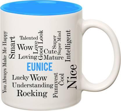 IBGift Eunice Good Personality Inner Blue Ceramic coffee Name Ceramic Coffee Mug