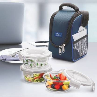 TREO Health First Round Glass Tiffin Box With Cover, 380ml, Transparent Glass 3 Containers Lunch Box