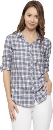 Campus Sutra Women Checkered Casual Grey Shirt