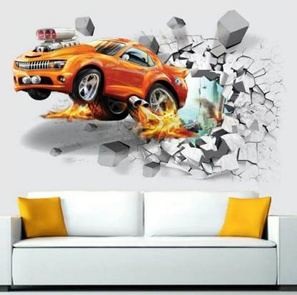 Impression Large Impression Orange Car 3d Wallpaer Wall Poster Wallpaper Wall Sticker Home Decor Stickers For Bedrooms Living Room Hall Kids Room Play Room Price In India Buy Impression Large Impression