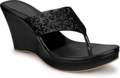 SHOFIEE Women Black Wedges