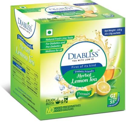 DiaBliss Diabetic Friendly Lemon - 10 x 10g Sachet Box - Pack Of 4 Lemon Herbal Infusion Box