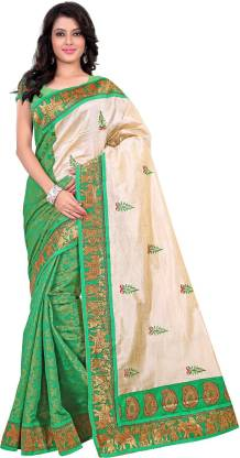 Anshika Lifestyle Embroidered Fashion Cotton Blend, Poly Silk Saree