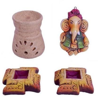 Indigo Creatives Terracotta Diwali Decorative Swastika Diya + Aroma Diffuser + Door Hanging Ganesha Combo Gift Hamper Earthenware Table Diya Set