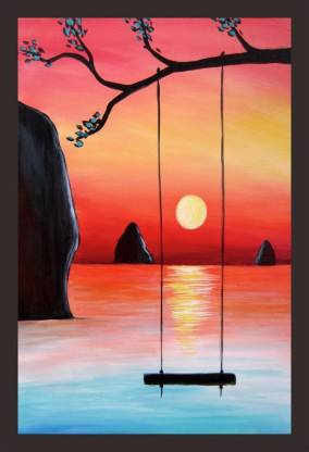 Mad Masters Sweet Elegant sunset painting home decoration wall paintings Digital Reprint 12 inch x 18 inch Painting