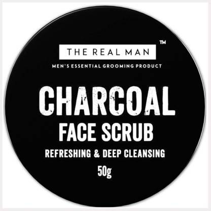 THE REAL MAN Refreshing & Deep Cleansing Charcoal Face Scrub 50g. With Extract of Aloe Vera & Natural Activated Charcoal. Scrub