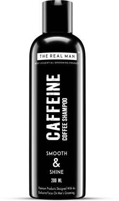 THE REAL MAN Smooth & Shine Caffeine Coffee Shampoo 200ml. With Extract of Aloe Vera & Natural Brown Coffee.