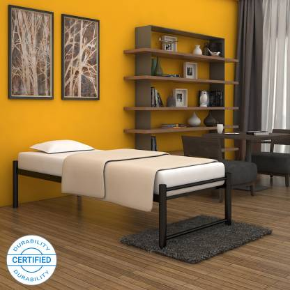 FurnitureKraft Osaka Metal Single Bed   Finish Color   Black  FurnitureKraft Beds