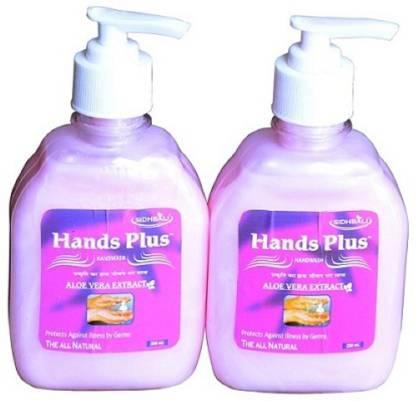 HANDS PLUS Hand Wash Aloe vera (250ml*2) Hand Wash Pump Dispenser