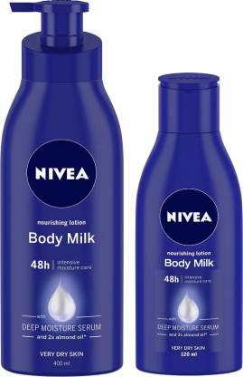 NIVEA Body Milk Nourishing Body Lotion 400ml & 120 ml - Pack of 2