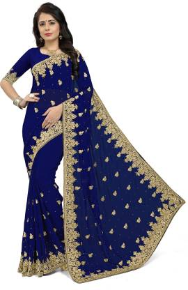 Om Shantam Sarees Self Design, Embellished Bollywood Poly Georgette Saree