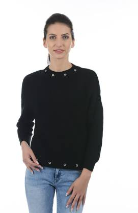 Solid Round Neck Casual Women Black Sweater