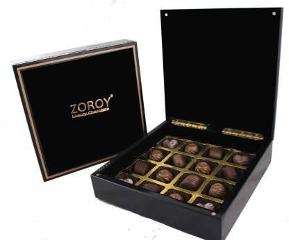Zoroy Luxury Chocolate Diwali Glossy black wooden gift box with 16 Signature Chocolates Fudges