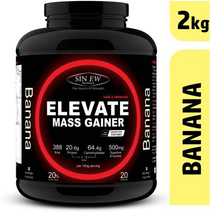SINEW NUTRITION Elevate Mass Gainer 2Kg Banana Weight Gainers/Mass Gainers