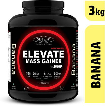 SINEW NUTRITION Elevate Mass Gainer 3kg Banana Weight Gainers/Mass Gainers