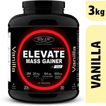 SINEW NUTRITION Elevate Mass Gainer 3kg Vanilla Weight Gainers/Mass Gainers