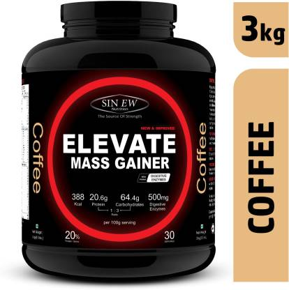 SINEW NUTRITION Elevate Mass Gainer 3 kg (Coffee) Weight Gainers/Mass Gainers