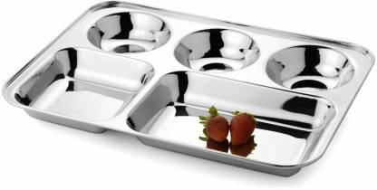 Kanak Stainless Steel 5 In 1 Five Compartment Divided Dinner Plate, Compartment Thali, Compartment Dinner Plate Sectioned Plate