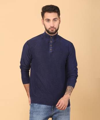 Indian Terrain Self Design Turtle Neck Casual Men Dark Blue Sweater