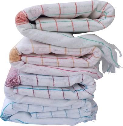 Cotton Colors Cotton 250 GSM Bath Towel Set  (Pack Of 4, White)