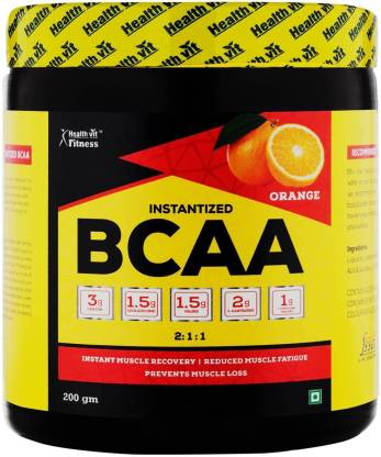 HealthVit Fitness BCAA 6000, 200g Powder Orange Pre/Post Workout Supplement BCAA