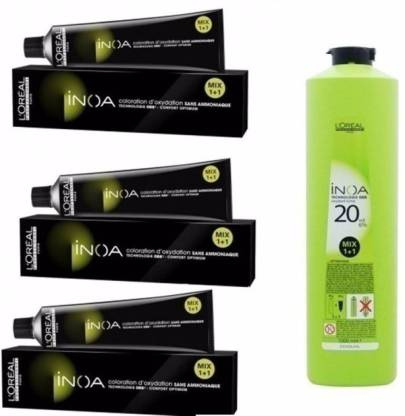 L'Oréal Paris Inoa No 4 .( Brown ) With 20 Volume 6% Developer , black, green