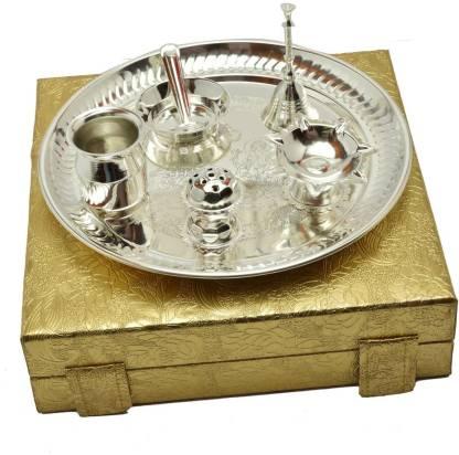 Adiidev Silver Plated Laxmi Ganesh Diwali Pooja Thali Set Brass
