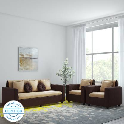 Bharat Lifestyle Fabric 3 + 1 + 1 Cream Sofa Set