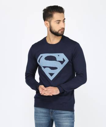 Superman Self Design Round Neck Casual Men Dark Blue Sweater