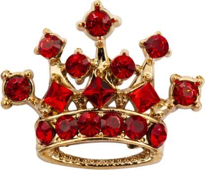 KNIGHTHOOD Golden Crown with Red Swarovski Brooch