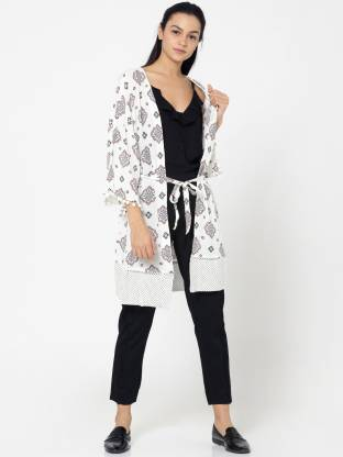 Printed Single Breasted Casual Women 3/4 Sleeve Blazer  (White)