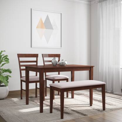 Flipkart Perfect Homes Hayman Solid Wood 4 Seater Dining Set   Finish Color   Walnut