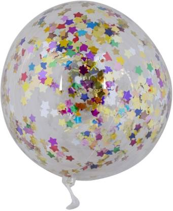 Smartcraft Solid Confetti Star Balloons for Birthday and Other Parties Decoration, Multicolor- Pack of 3 Balloon