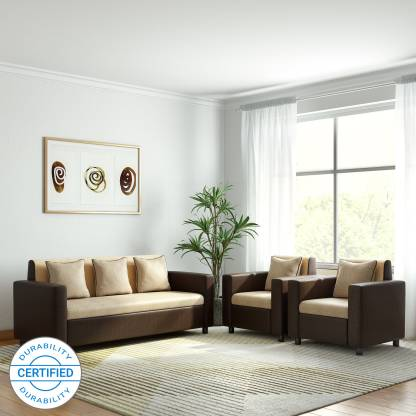 Gioteak SOFIA Fabric 3 + 1 + 1 CREAM BROWN Sofa Set
