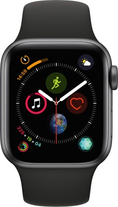 Apple Watch Series 4 GPS + Cellular 40 mm Space Grey Aluminium Case with Black Sport Band (Black Strap Regular)
