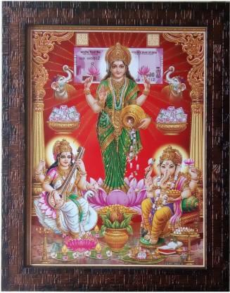 Art Collection Laxmi Ganesh Saraswati Framed Painting Photo Frame Laxmi Ganesh Saraswati Photo Frame Goddess Lakshmi
