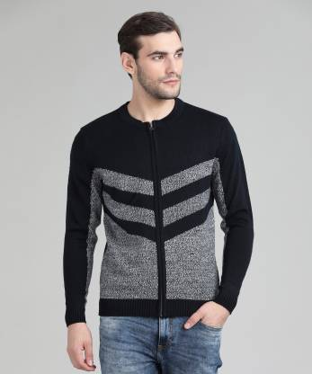 Flying Machine Striped Round Neck Casual Men Dark Blue Sweater