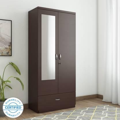 HomeTown Utsav Engineered Wood 2 Door Wardrobe Finish Color   Wenge, Mirror Included  HomeTown Wardrobes