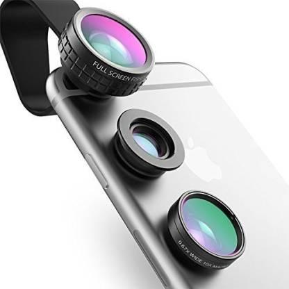AUKEY Mini Clip-on Optic Cell Phone Camera Lens Kit 180 Degree Fisheye Lens + 110 Degree Wide Angle + 10x Macro Lens for Phones Mobile Phone Lens